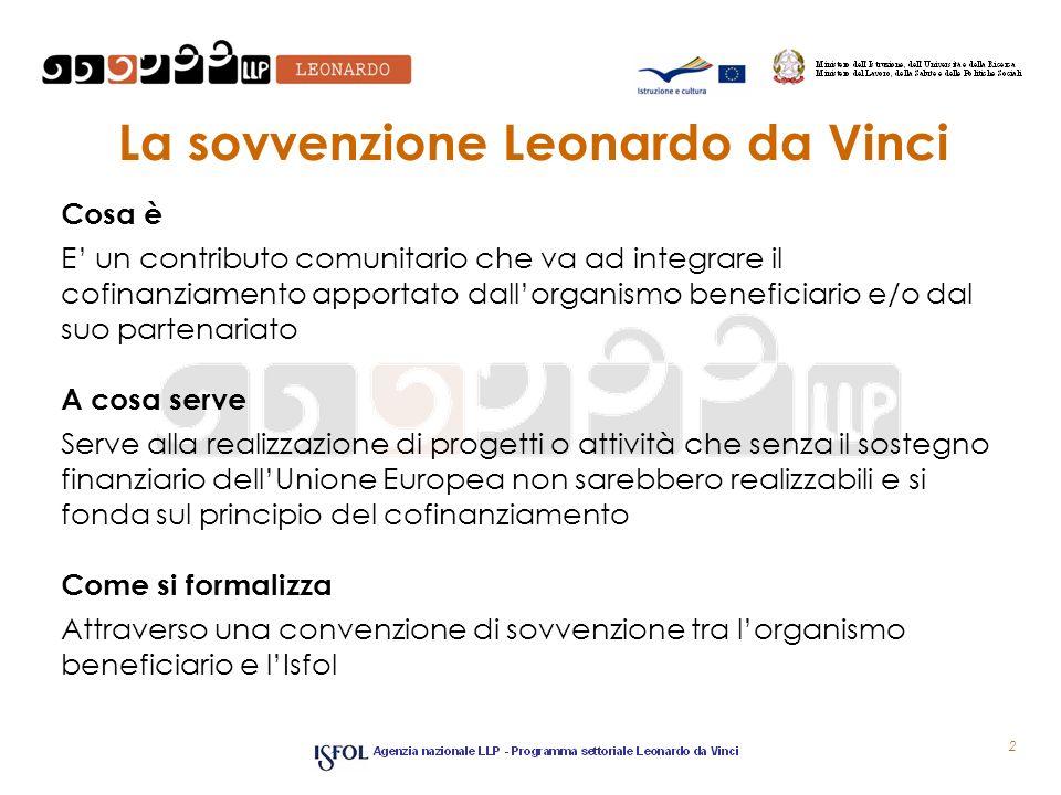 La sovvenzione Leonardo da Vinci Cosa è E un contributo comunitario che va ad integrare il cofinanziamento apportato dallorganismo beneficiario e/o da