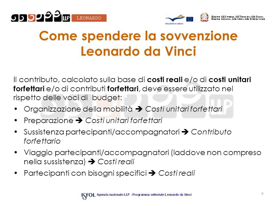 Come spendere la sovvenzione Leonardo da Vinci Il contributo, calcolato sulla base di costi reali e/o di costi unitari forfettari e/o di contributi fo