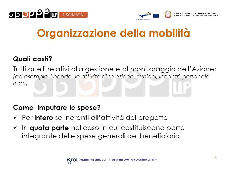 Organizzazione della mobilità Quali costi? Tutti quelli relativi alla gestione e al monitoraggio dellAzione: (ad esempio il bando, le attività di sele