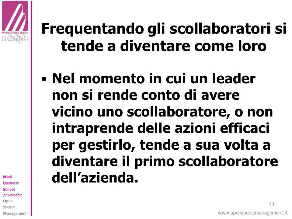 11 Frequentando gli scollaboratori si tende a diventare come loro Nel momento in cui un leader non si rende conto di avere vicino uno scollaboratore,