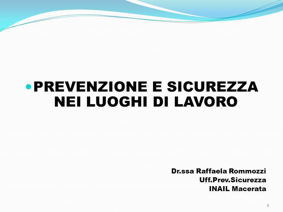 PREVENZIONE E SICUREZZA NEI LUOGHI DI LAVORO Dr.ssa Raffaela Rommozzi Uff.Prev.Sicurezza INAIL Macerata 1