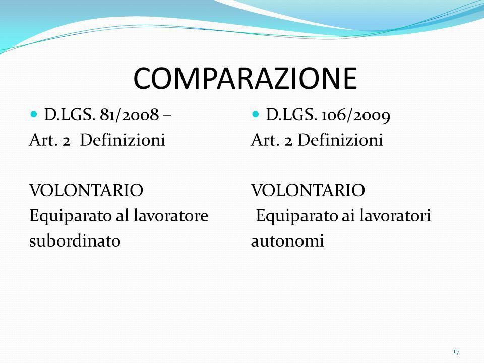 COMPARAZIONE D.LGS. 81/2008 – Art. 2 Definizioni VOLONTARIO Equiparato al lavoratore subordinato D.LGS. 106/2009 Art. 2 Definizioni VOLONTARIO Equipar