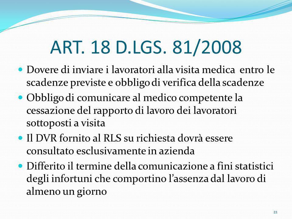 ART. 18 D.LGS. 81/2008 Dovere di inviare i lavoratori alla visita medica entro le scadenze previste e obbligo di verifica della scadenze Obbligo di co
