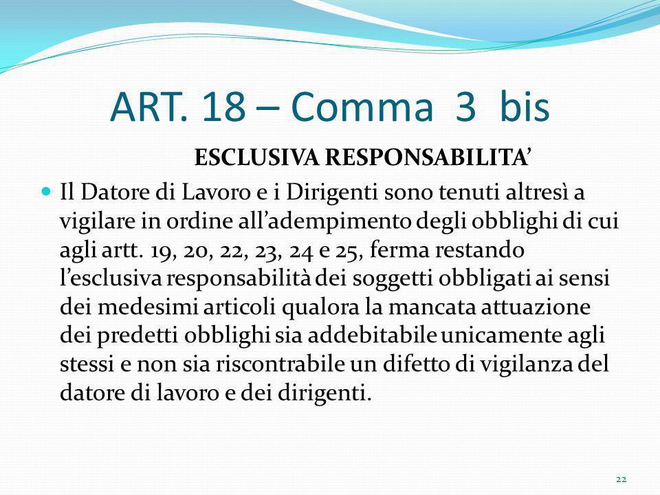 ART. 18 – Comma 3 bis ESCLUSIVA RESPONSABILITA Il Datore di Lavoro e i Dirigenti sono tenuti altresì a vigilare in ordine alladempimento degli obbligh