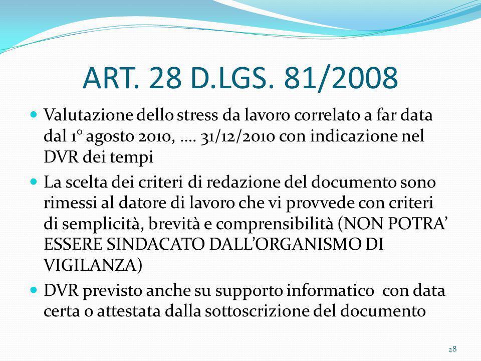 ART. 28 D.LGS. 81/2008 Valutazione dello stress da lavoro correlato a far data dal 1° agosto 2010, …. 31/12/2010 con indicazione nel DVR dei tempi La