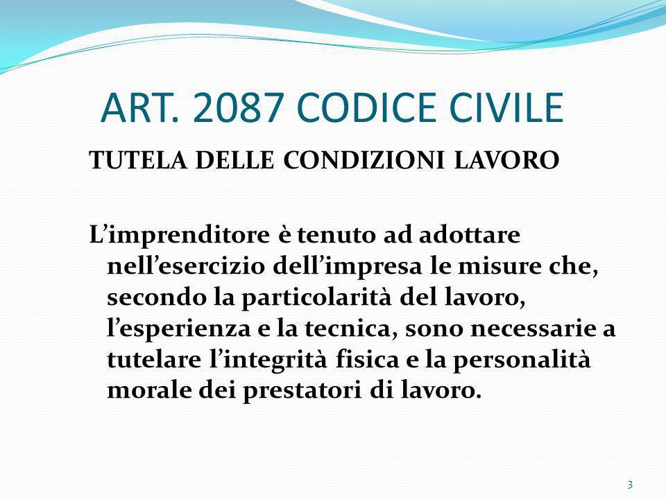 ART. 2087 CODICE CIVILE TUTELA DELLE CONDIZIONI LAVORO Limprenditore è tenuto ad adottare nellesercizio dellimpresa le misure che, secondo la particol