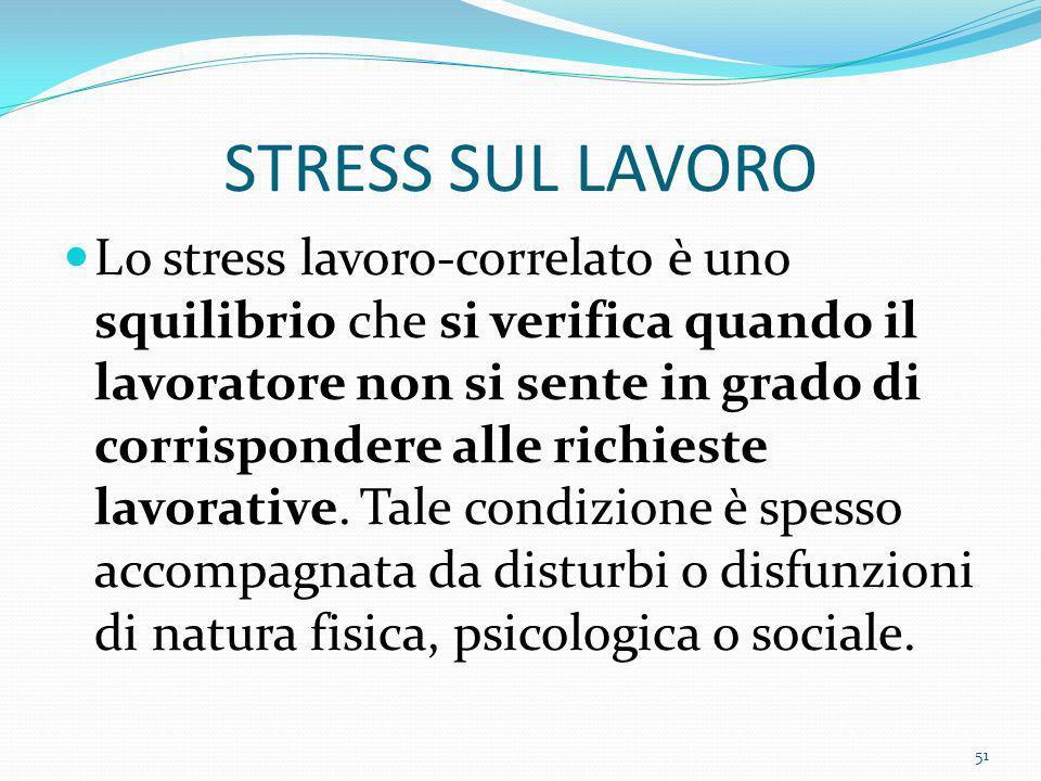 STRESS SUL LAVORO Lo stress lavoro-correlato è uno squilibrio che si verifica quando il lavoratore non si sente in grado di corrispondere alle richies
