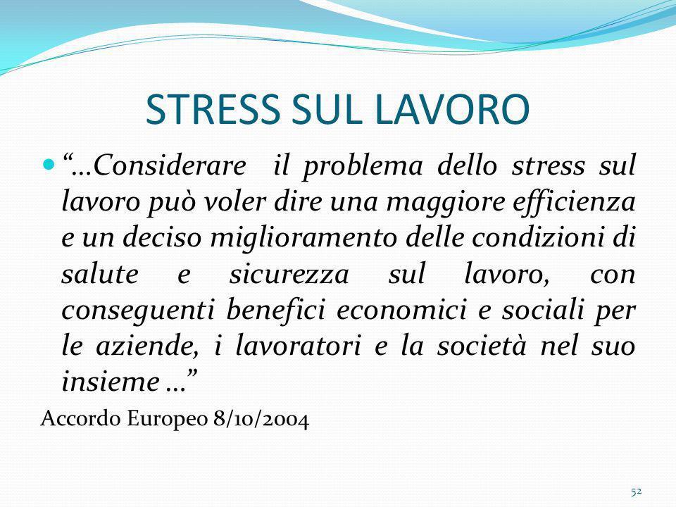 STRESS SUL LAVORO …Considerare il problema dello stress sul lavoro può voler dire una maggiore efficienza e un deciso miglioramento delle condizioni d