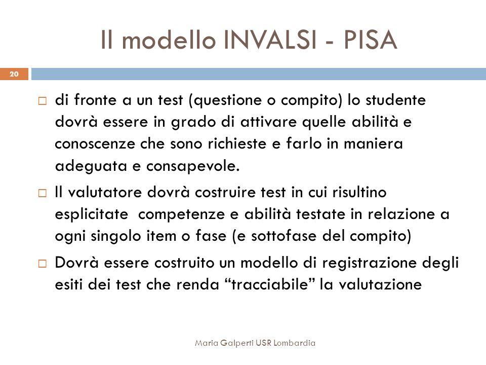 Il modello INVALSI - PISA di fronte a un test (questione o compito) lo studente dovrà essere in grado di attivare quelle abilità e conoscenze che sono richieste e farlo in maniera adeguata e consapevole.
