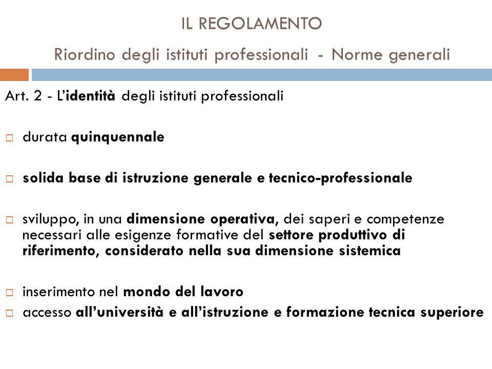 IL REGOLAMENTO Riordino degli istituti professionali - Norme generali Art.