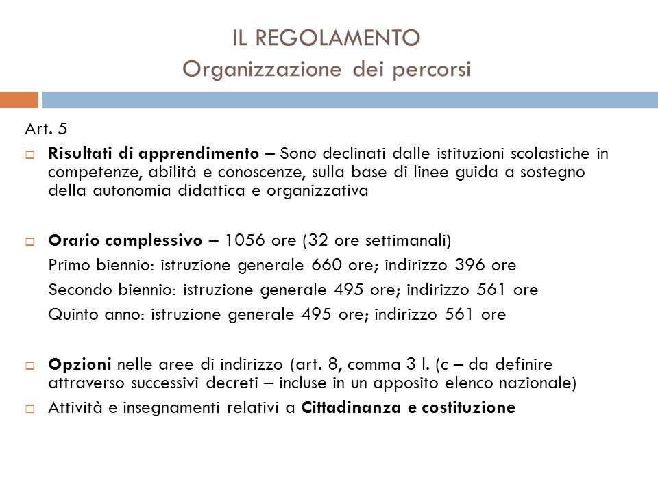 IL REGOLAMENTO Autonomia e flessibilità Art.5 c.