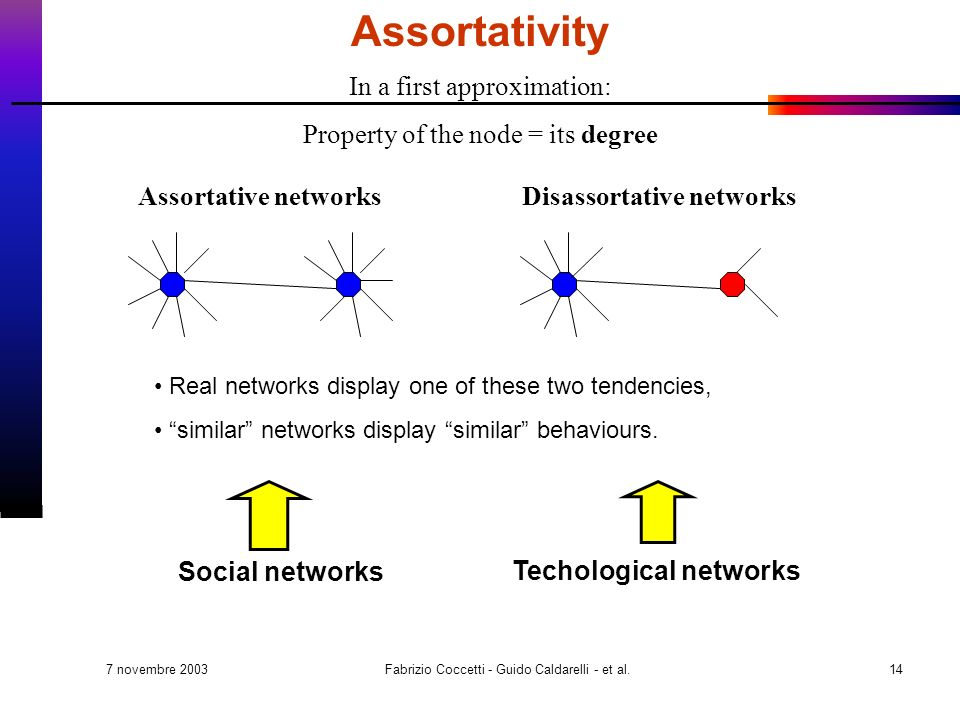 7 novembre 2003 Fabrizio Coccetti - Guido Caldarelli - et al.14 In a first approximation: Property of the node = its degree Assortative networksDisassortative networks Real networks display one of these two tendencies, similar networks display similar behaviours.