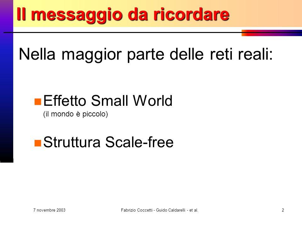 7 novembre 2003 Fabrizio Coccetti - Guido Caldarelli - et al.2 Il messaggio da ricordare Nella maggior parte delle reti reali: Effetto Small World (il