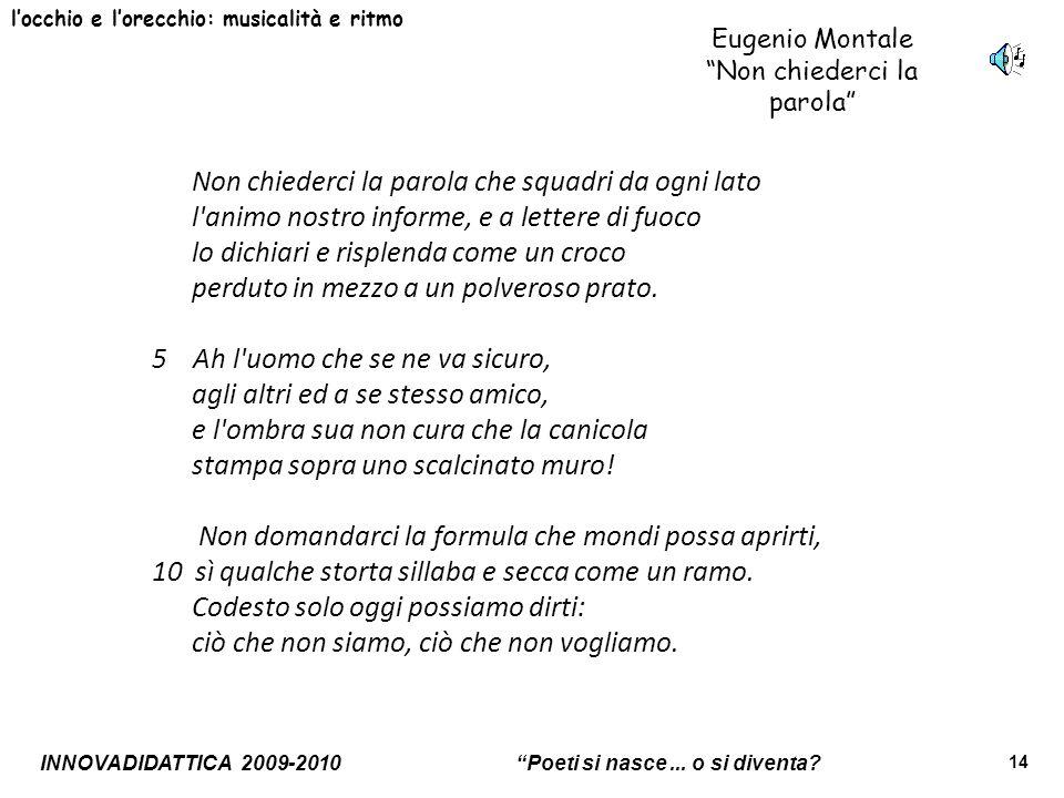 INNOVADIDATTICA 2009-2010 Poeti si nasce... o si diventa? 14 locchio e lorecchio: musicalità e ritmo Eugenio Montale Non chiederci la parola Non chied