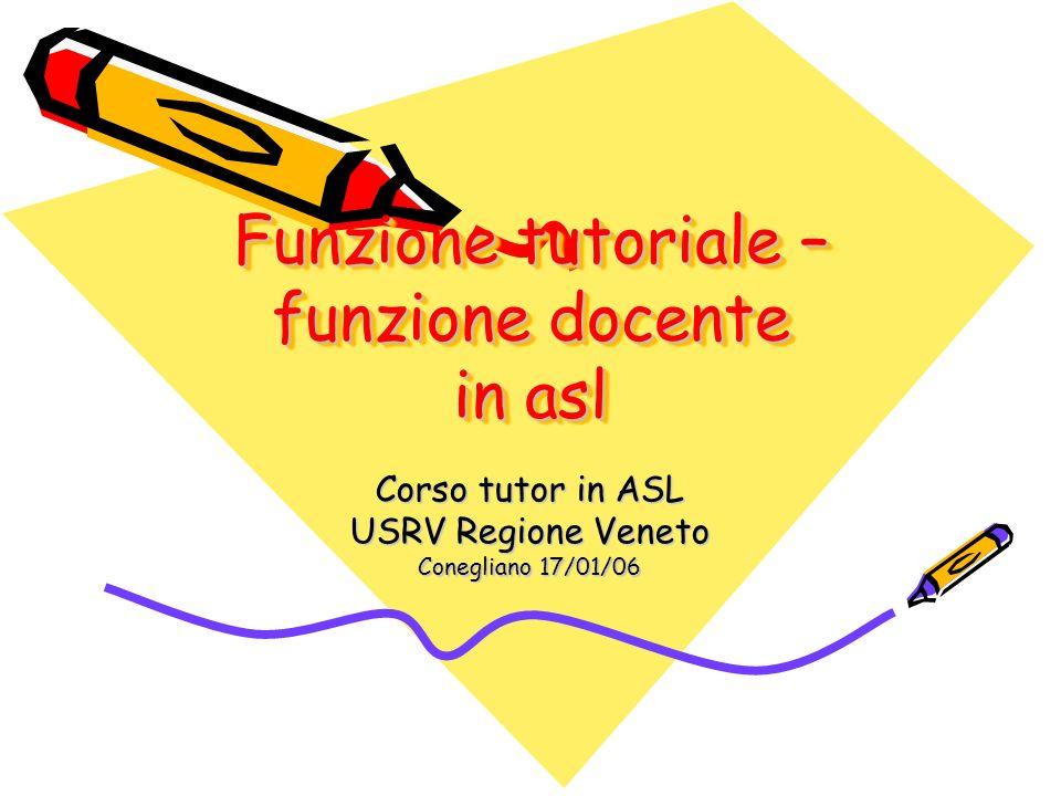 Funzione tutoriale – funzione docente in asl Corso tutor in ASL USRV Regione Veneto Conegliano 17/01/06