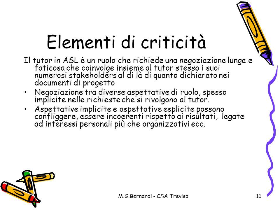M.G.Bernardi - CSA Treviso11 Elementi di criticità Il tutor in ASL è un ruolo che richiede una negoziazione lunga e faticosa che coinvolge insieme al