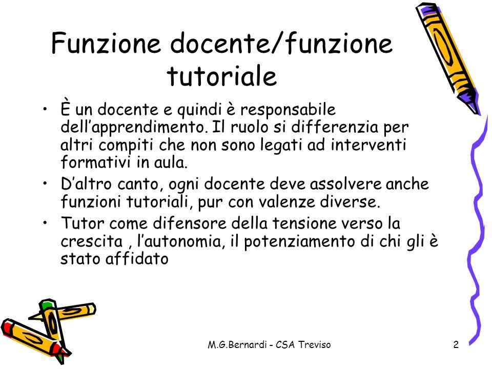 M.G.Bernardi - CSA Treviso2 Funzione docente/funzione tutoriale È un docente e quindi è responsabile dellapprendimento. Il ruolo si differenzia per al
