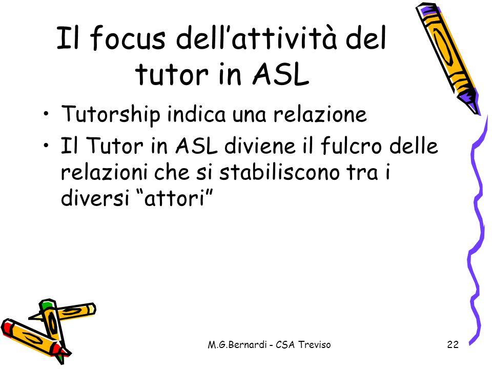 M.G.Bernardi - CSA Treviso22 Il focus dellattività del tutor in ASL Tutorship indica una relazione Il Tutor in ASL diviene il fulcro delle relazioni c