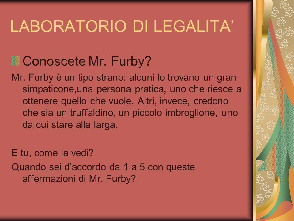LABORATORIO DI LEGALITA Conoscete Mr. Furby? Mr. Furby è un tipo strano: alcuni lo trovano un gran simpaticone,una persona pratica, uno che riesce a o