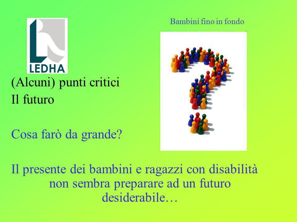 (Alcuni) punti critici Il futuro Cosa farò da grande? Il presente dei bambini e ragazzi con disabilità non sembra preparare ad un futuro desiderabile…