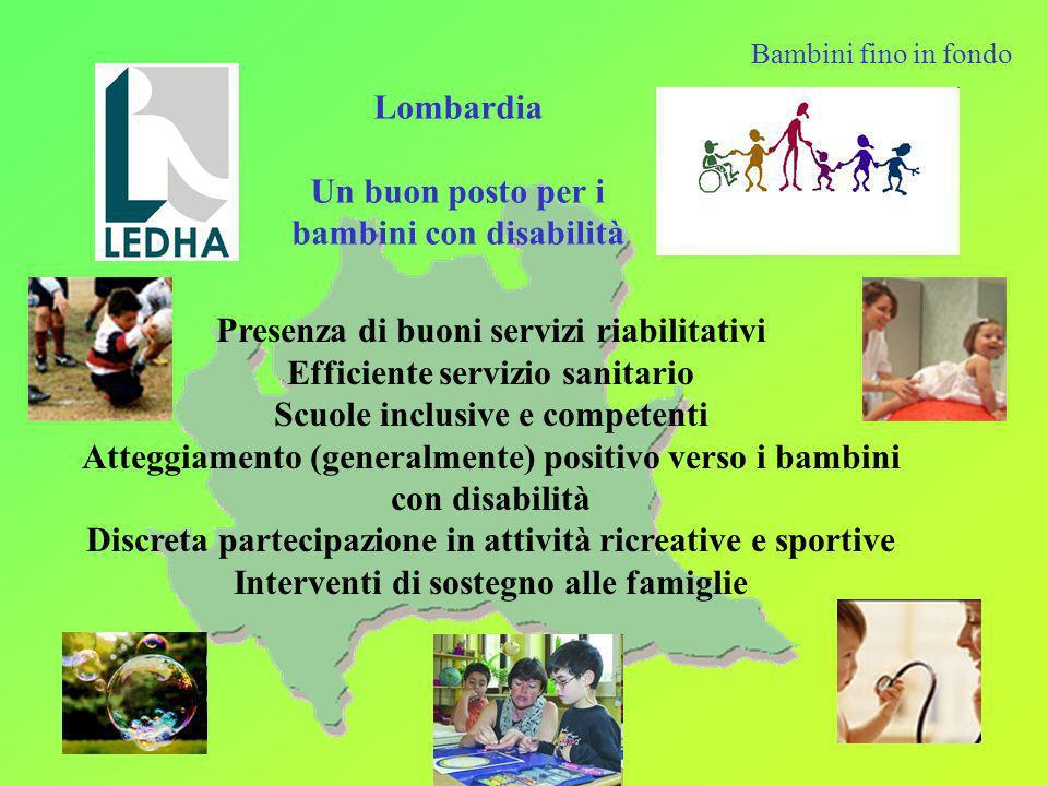 I servizi e le opportunità attive in Lombardia hanno migliorato sensibilmente negli anni la qualità della vita dei bambini con disabilità e delle loro famiglia che continuano comunque a Vivere situazioni di isolamento e disorientamento Essere progressivamente impoverite Subire continue discriminazioni Bambini fino in fondo