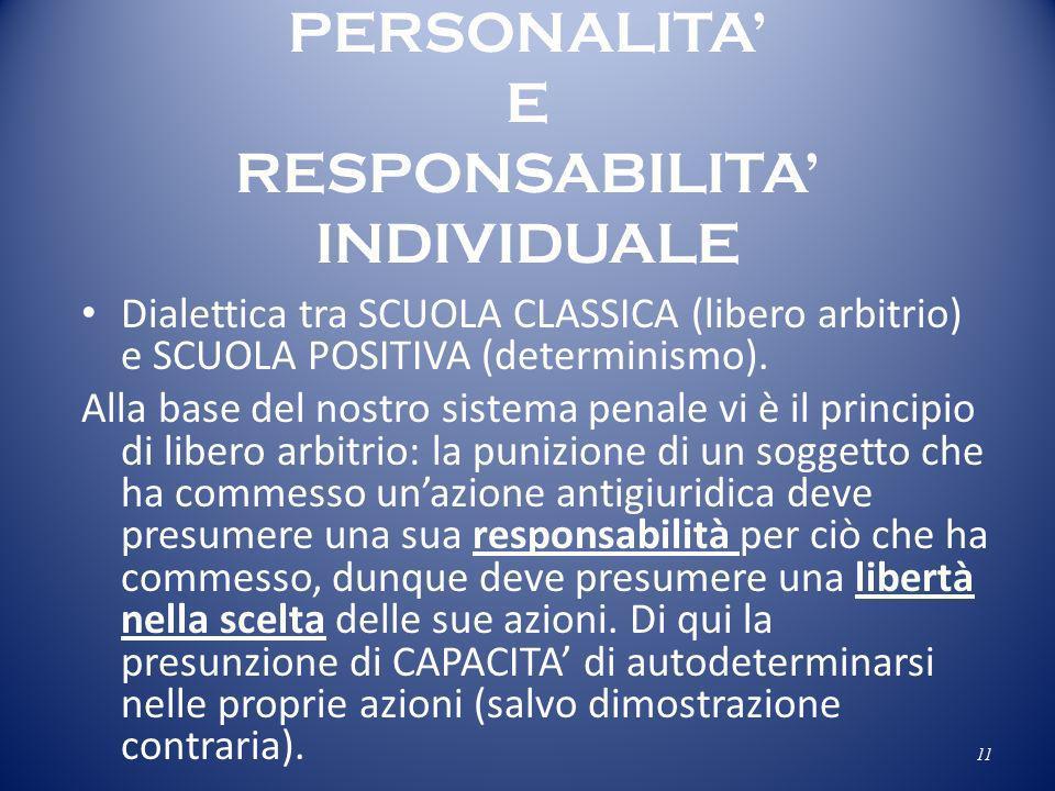 PERSONALITA E RESPONSABILITA INDIVIDUALE Dialettica tra SCUOLA CLASSICA (libero arbitrio) e SCUOLA POSITIVA (determinismo). Alla base del nostro siste
