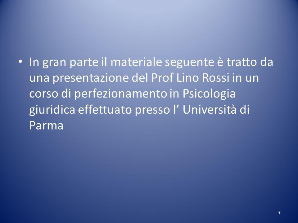 In gran parte il materiale seguente è tratto da una presentazione del Prof Lino Rossi in un corso di perfezionamento in Psicologia giuridica effettuat