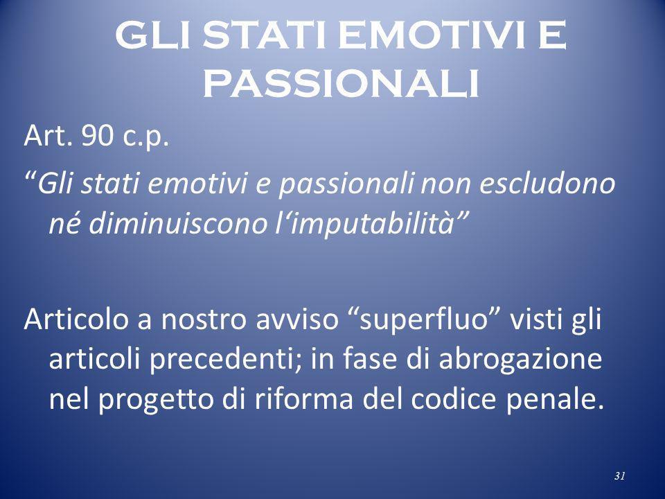 GLI STATI EMOTIVI E PASSIONALI Art. 90 c.p. Gli stati emotivi e passionali non escludono né diminuiscono limputabilità Articolo a nostro avviso superf