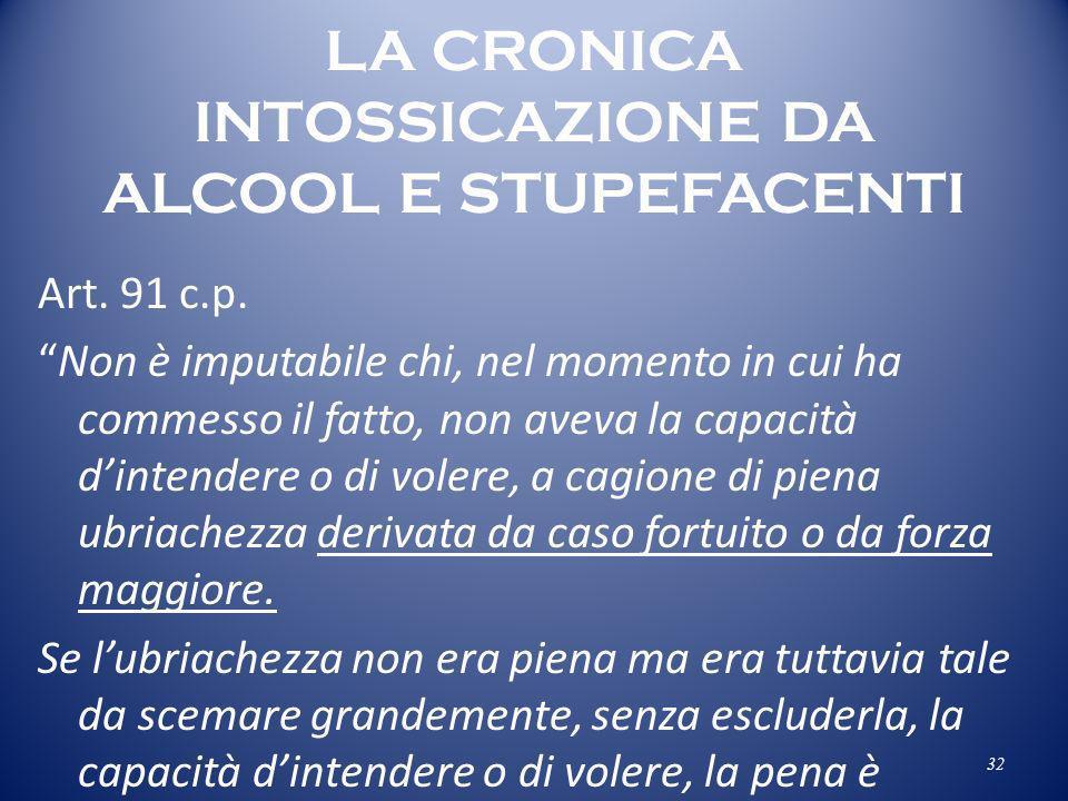 LA CRONICA INTOSSICAZIONE DA ALCOOL E STUPEFACENTI Art. 91 c.p. Non è imputabile chi, nel momento in cui ha commesso il fatto, non aveva la capacità d