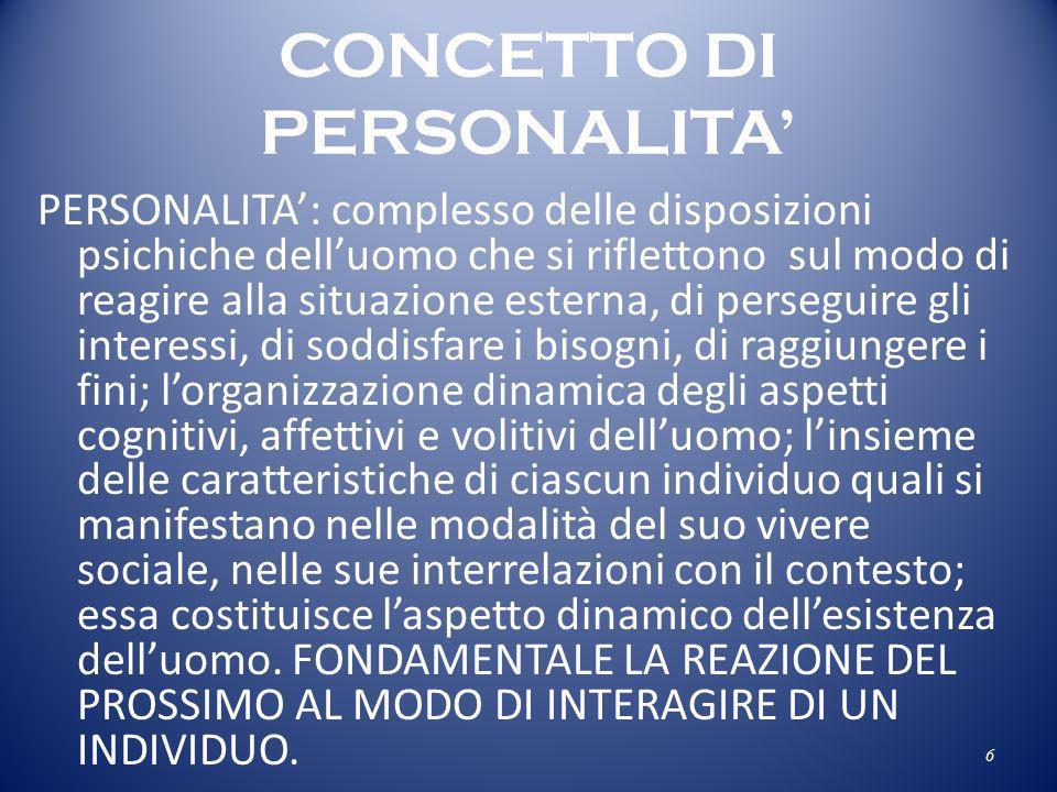 CONCETTO DI PERSONALITA PERSONALITA: complesso delle disposizioni psichiche delluomo che si riflettono sul modo di reagire alla situazione esterna, di