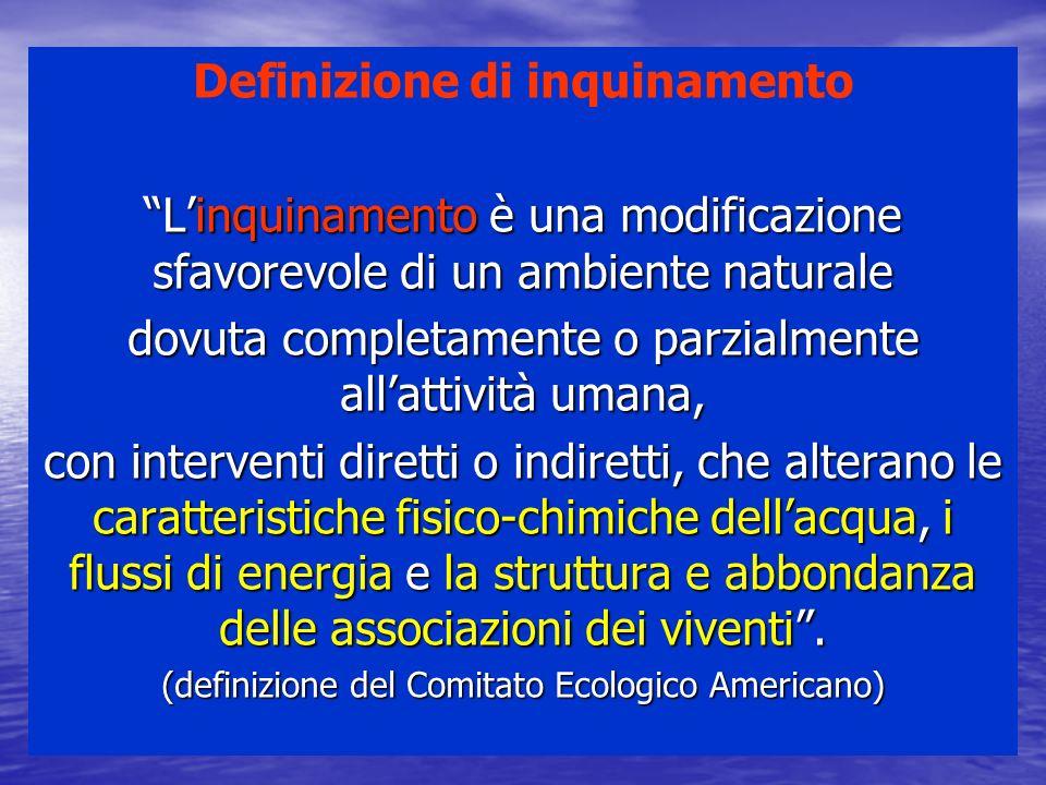 Definizione di inquinamento Linquinamento è una modificazione sfavorevole di un ambiente naturale dovuta completamente o parzialmente allattività uman