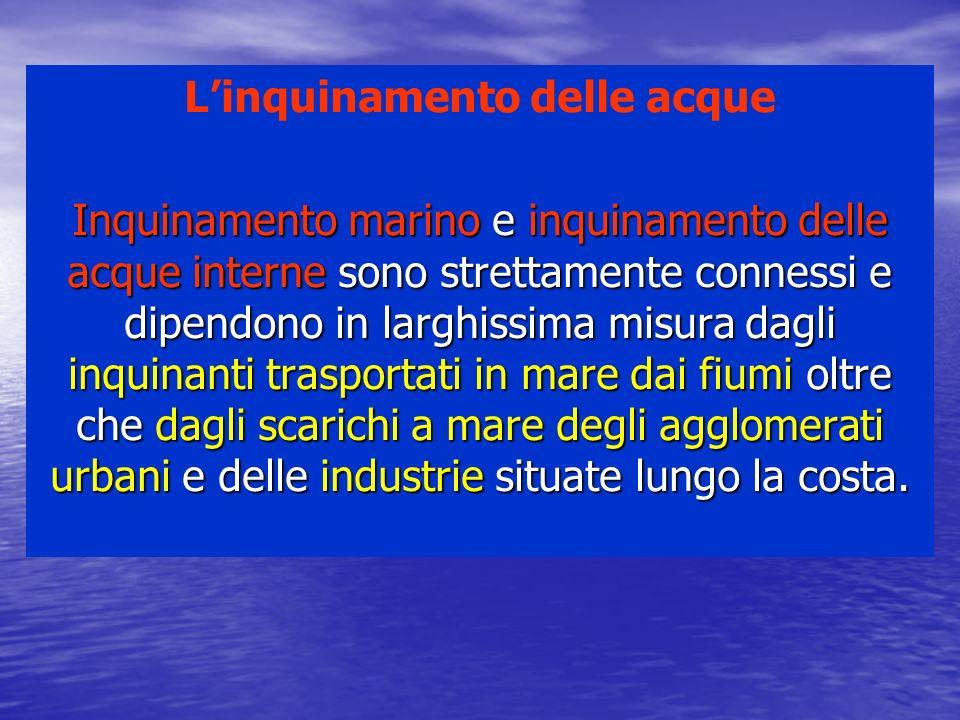 Fonti di inquinamento Fonti terrestri dirette: acque di rifiuto urbane, domestiche, industriali, acque di pioggia che hanno raccolto sul terreno materiali inquinanti, etc.