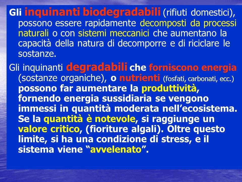 Gli inquinanti biodegradabili (rifiuti domestici), possono essere rapidamente decomposti da processi naturali o con sistemi meccanici che aumentano la