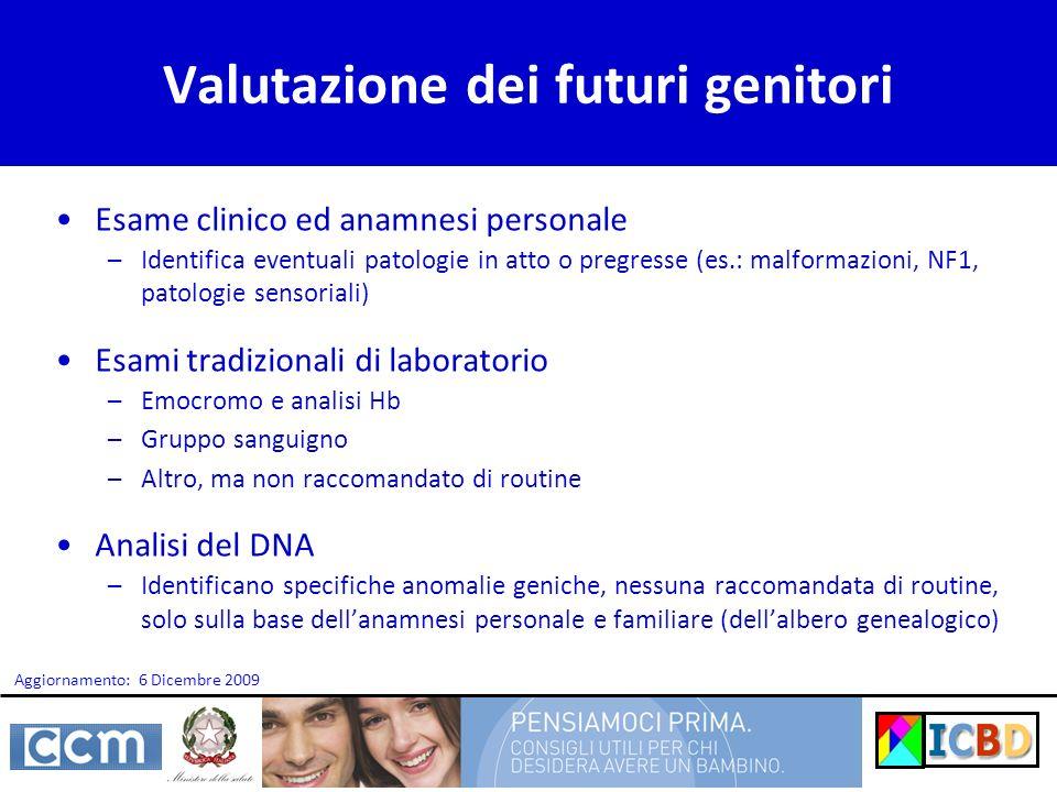 Valutazione dei futuri genitori Esame clinico ed anamnesi personale –Identifica eventuali patologie in atto o pregresse (es.: malformazioni, NF1, pato