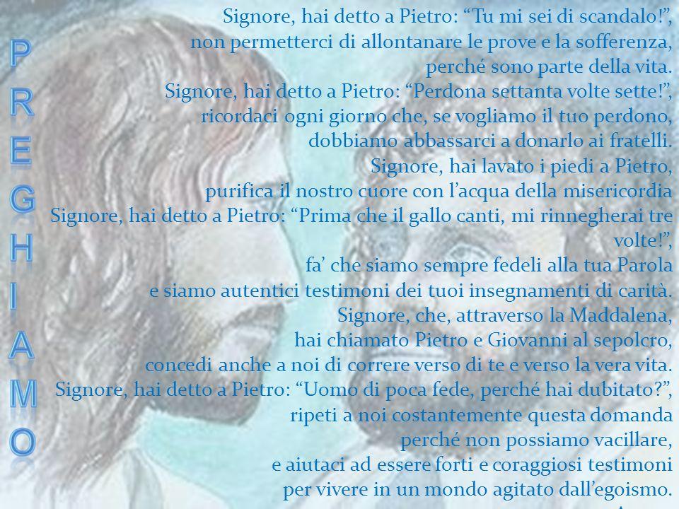 Signore, hai detto a Pietro: Tu mi sei di scandalo!, non permetterci di allontanare le prove e la sofferenza, perché sono parte della vita. Signore, h