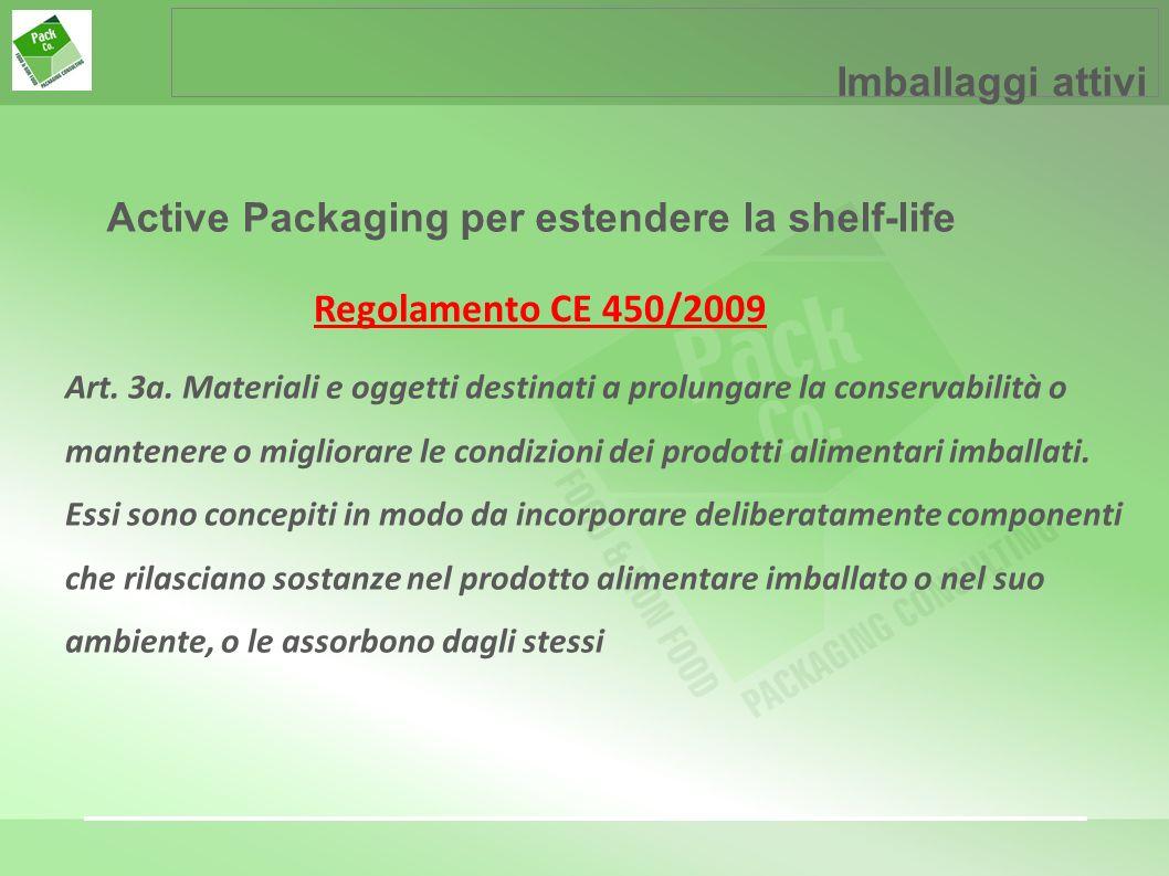 Imballaggi attivi Active Packaging per estendere la shelf-life Art. 3a. Materiali e oggetti destinati a prolungare la conservabilità o mantenere o mig