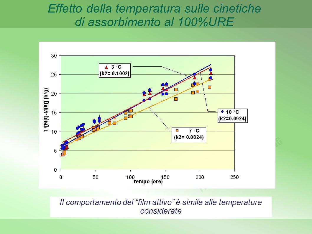 Effetto della temperatura sulle cinetiche di assorbimento al 100%URE Il comportamento del film attivo è simile alle temperature considerate