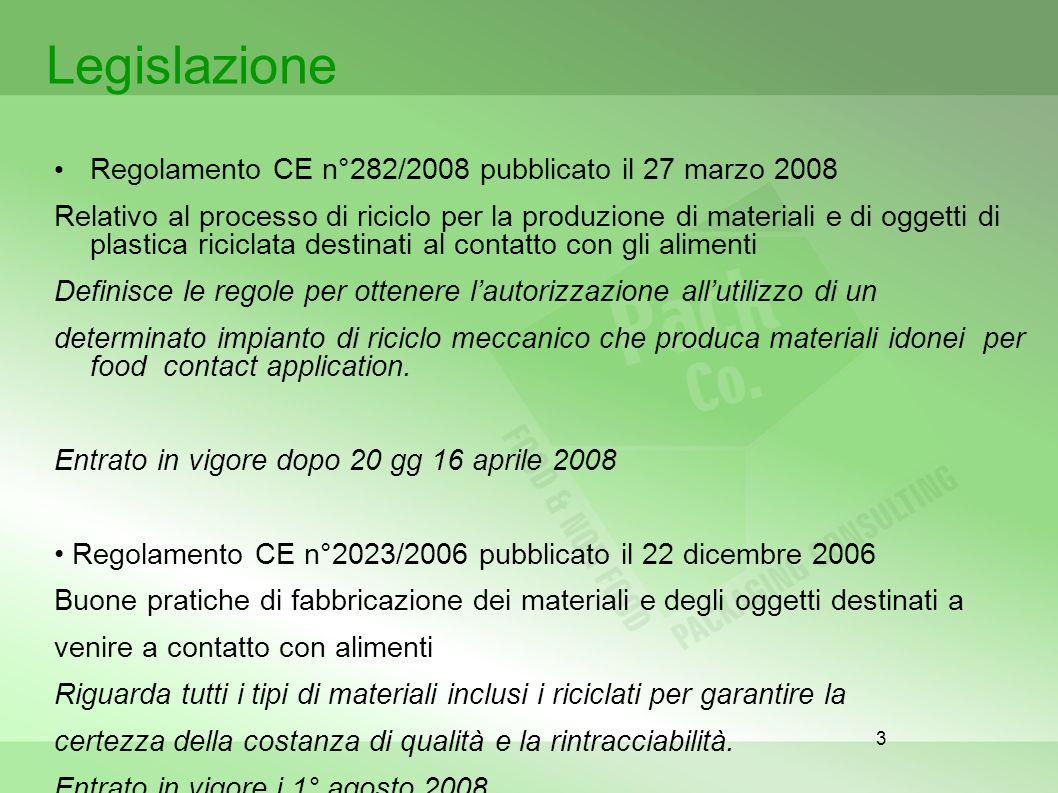 3 Legislazione Regolamento CE n°282/2008 pubblicato il 27 marzo 2008 Relativo al processo di riciclo per la produzione di materiali e di oggetti di pl