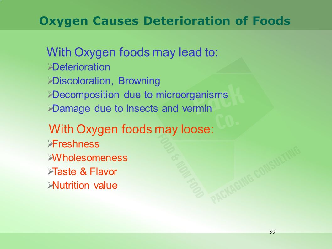 39 Oxygen Causes Deterioration of Foods With Oxygen foods may lead to: Deterioration Discoloration, Browning Decomposition due to microorganisms Damag