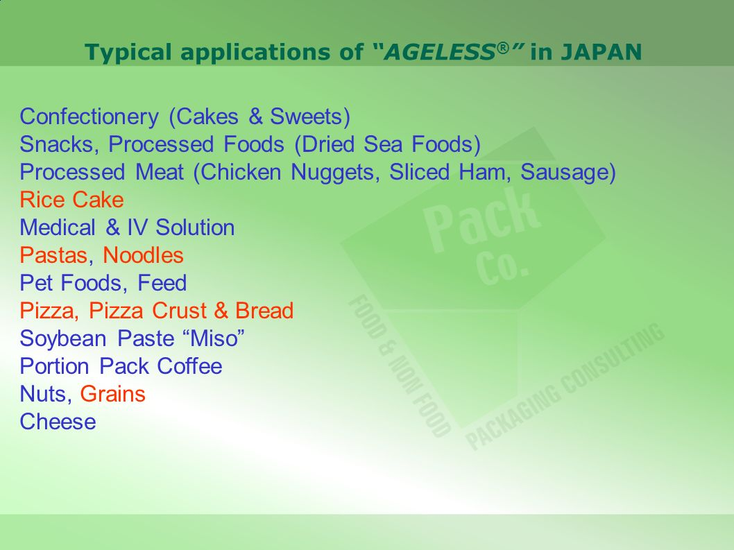 Typical applications of AGELESS ® in JAPAN Confectionery (Cakes & Sweets) Snacks, Processed Foods (Dried Sea Foods) Processed Meat (Chicken Nuggets, S