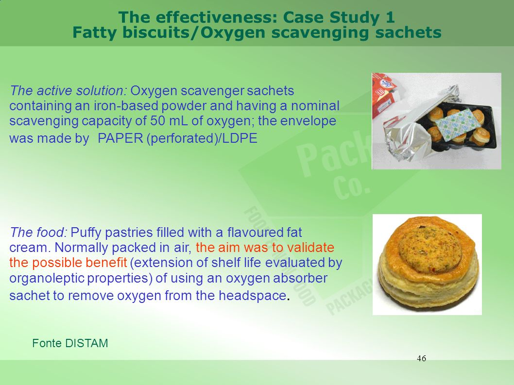 46 The effectiveness: Case Study 1 Fatty biscuits/Oxygen scavenging sachets The active solution: Oxygen scavenger sachets containing an iron-based pow