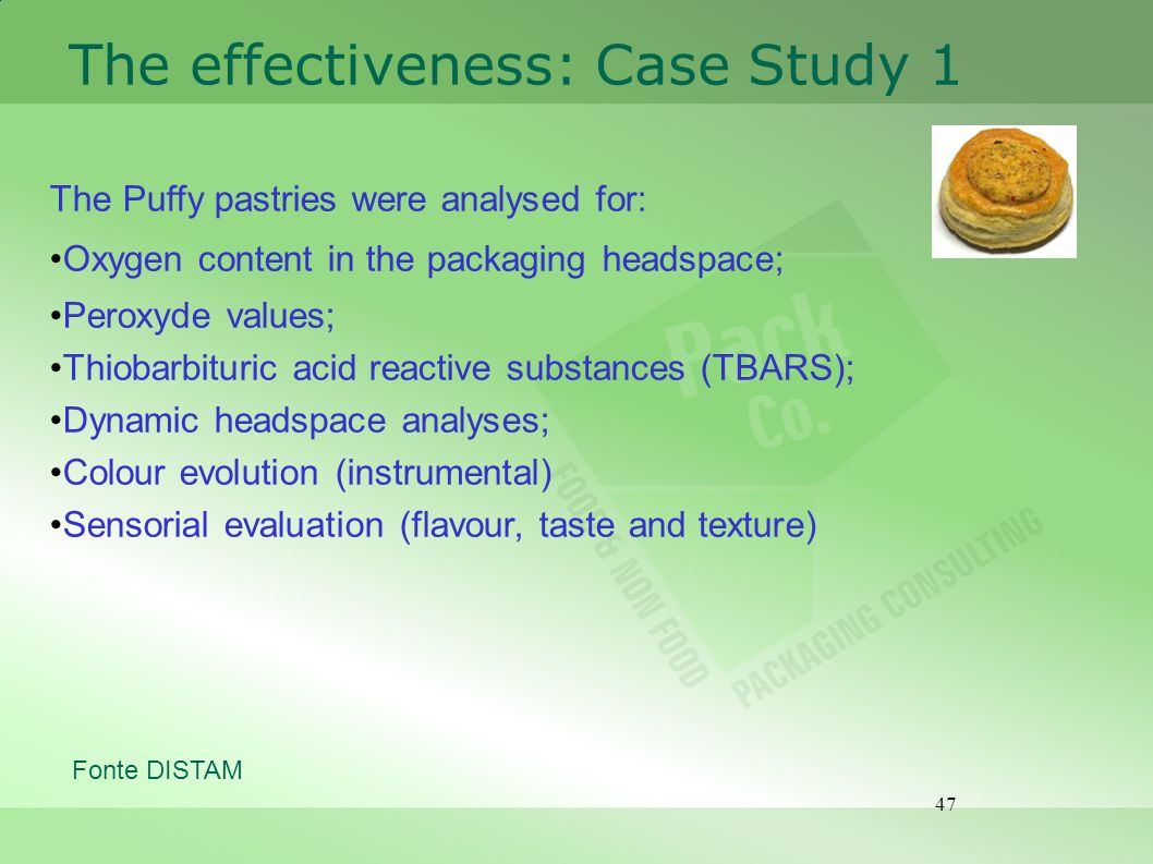47 The effectiveness: Case Study 1 The Puffy pastries were analysed for: Oxygen content in the packaging headspace; Peroxyde values; Thiobarbituric ac