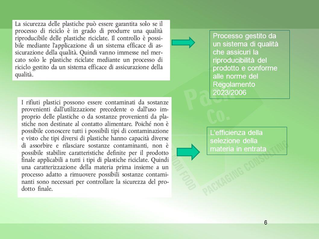 6 Lefficienza della selezione della materia in entrata Processo gestito da un sistema di qualità che assicuri la riproducibilità del prodotto e confor