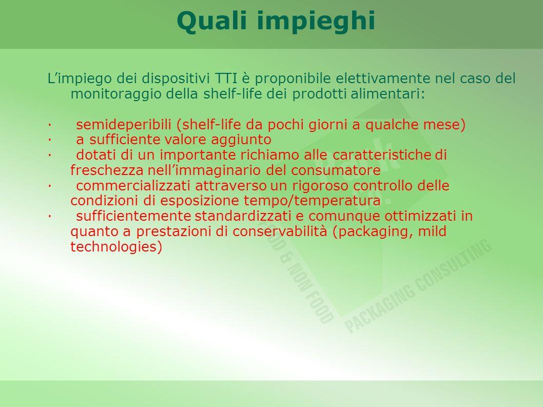 Limpiego dei dispositivi TTI è proponibile elettivamente nel caso del monitoraggio della shelf-life dei prodotti alimentari: · semideperibili (shelf-l