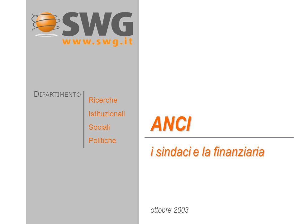 ottobre 2003 ANCI i sindaci e la finanziaria D IPARTIMENTO Ricerche Istituzionali Sociali Politiche