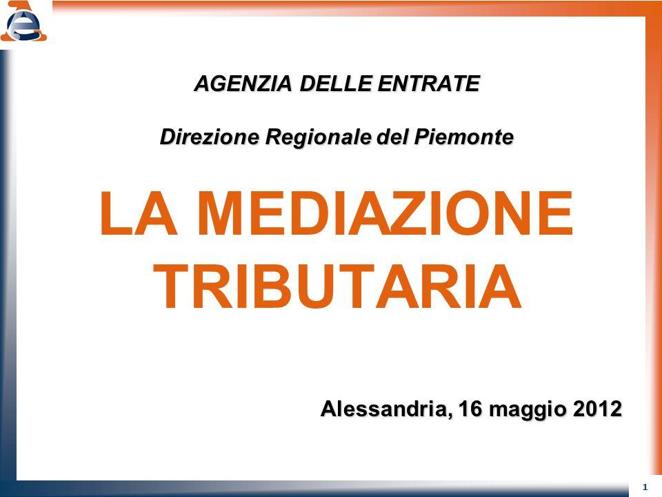 1 AGENZIA DELLE ENTRATE Direzione Regionale del Piemonte LA MEDIAZIONE TRIBUTARIA Alessandria, 16 maggio 2012