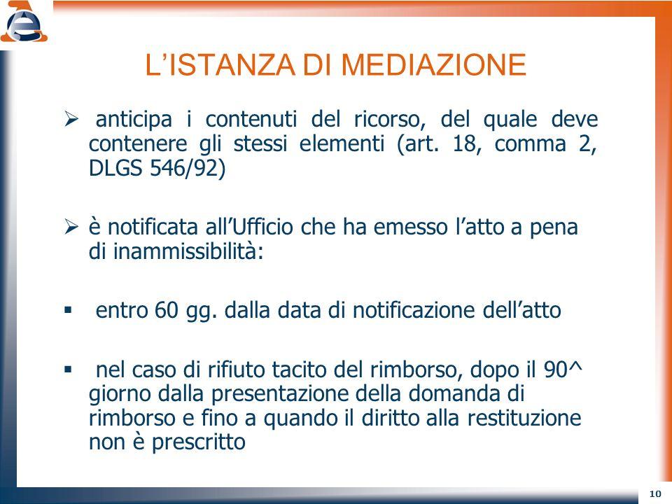 10 LISTANZA DI MEDIAZIONE anticipa i contenuti del ricorso, del quale deve contenere gli stessi elementi (art. 18, comma 2, DLGS 546/92) è notificata