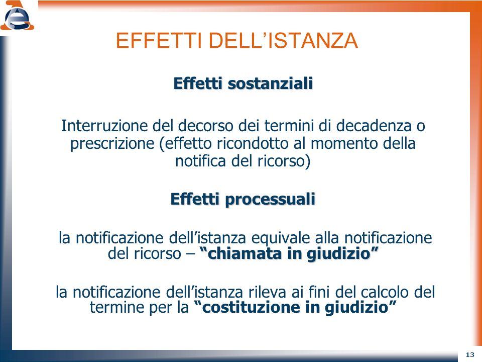 13 EFFETTI DELLISTANZA Effetti sostanziali Interruzione del decorso dei termini di decadenza o prescrizione (effetto ricondotto al momento della notif