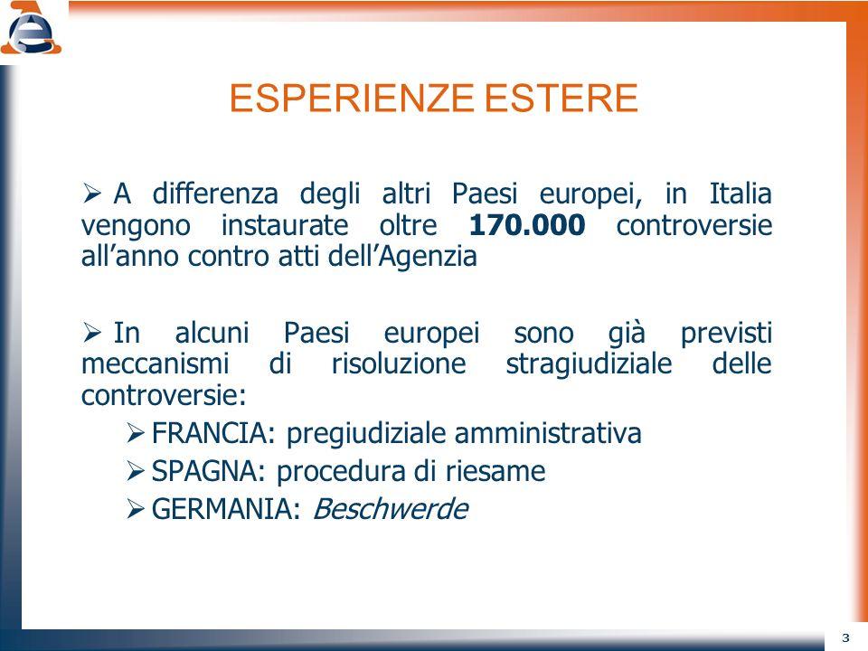 3 ESPERIENZE ESTERE A differenza degli altri Paesi europei, in Italia vengono instaurate oltre 170.000 controversie allanno contro atti dellAgenzia In