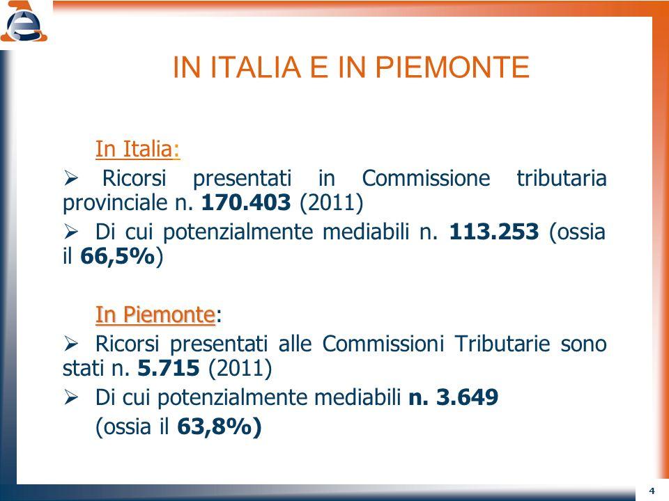 4 IN ITALIA E IN PIEMONTE In Italia: Ricorsi presentati in Commissione tributaria provinciale n. 170.403 (2011) Di cui potenzialmente mediabili n. 113